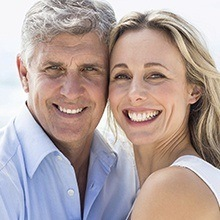 Older couple with natural looking dentures