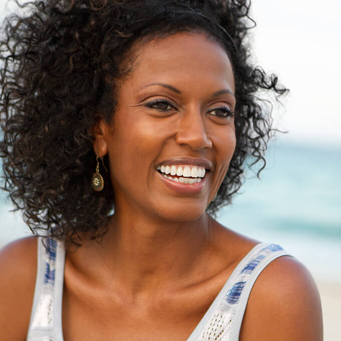 Woman with perfect teeth smiling