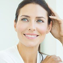 Woman with natural looking dental restoration