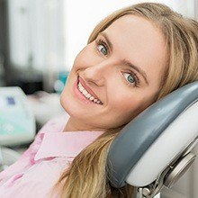 Woman smiling in dental chair